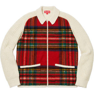 Supreme - Supreme plaid front zip sweater 新品 S