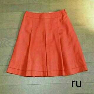 アールユー(RU)のru*フレアスカート*極美品*オレンジ(ひざ丈スカート)