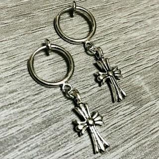 ノンホール クロスピアス 十字架 フープ シルバー 銀 メンズ レディース 2個(ピアス(両耳用))