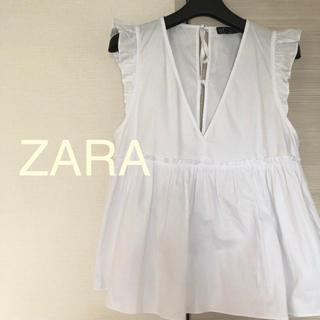 ザラ(ZARA)のZARA ペプラム ノースリーブ トップス (カットソー(半袖/袖なし))