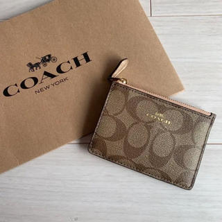 コーチ(COACH)の【新品・未使用】コーチ COACH コインケース シグニチャー ベージュ ピンク(コインケース)