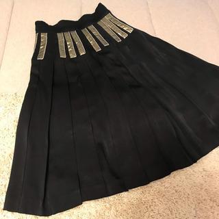 ツモリチサト(TSUMORI CHISATO)のツモリチサト シルク 巻き プリーツスカート 黒 ゴールド(ひざ丈スカート)