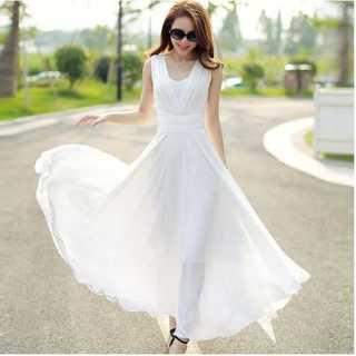 マキシワンピース ワンピース 無地 ロングスカート フレアスカート ホワイト 白(ロングドレス)