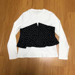 ジーユー(GU)のGUビスチェドコンビT 長袖 ドット柄L(Tシャツ(長袖/七分))