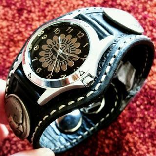 ケイシイズ(KC,s)の【未使用品】kc,s 腕時計 3コンチョ クラフト サンフェイス ブラック(腕時計(アナログ))
