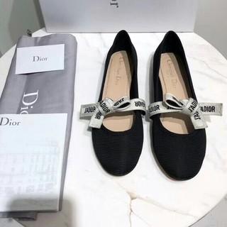 ディオール(Dior)の★DIOR MISS J'ADIOR蝶がリボンを結ぶ バレエシューズ 黒23.5(バレエシューズ)