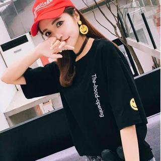 ニコちゃん ワンポイント  ビッグシルエット Tシャツ 韓国ファッション 黒(Tシャツ(半袖/袖なし))