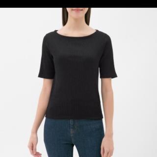 ユニクロ(UNIQLO)のUNIQLO リブボートネックTシャツ(Tシャツ(半袖/袖なし))