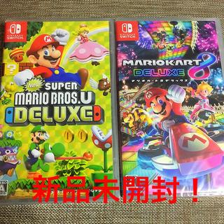 ニンテンドースイッチ(Nintendo Switch)のスーパーマリオブラザーズ U デラックス + マリオカート8 デラックス セット(家庭用ゲームソフト)