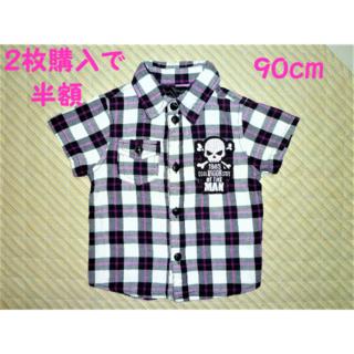 ☆同梱で半額☆ 90cm どくろチェックシャツ 【送料込】(Tシャツ/カットソー)