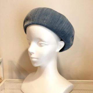 コットンサーモベレー帽☆ブルー(ハンチング/ベレー帽)