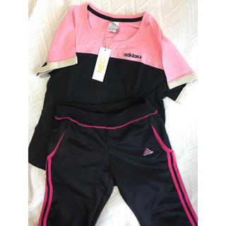 アディダス(adidas)の新品 アディダス ウエアー Tシャツ&パンツ3ストライプ セット (トレーニング用品)