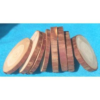 ★檜・ヒノキの輪切り(直径:約10~11cm前後 厚さ2種類の8個)★