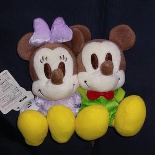 ディズニー(Disney)の非売品 ミッキー&ミニー ちびーず ラブラブぬいぐるみ グリーン(キャラクターグッズ)