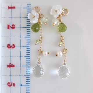 専用出品 14kgf✨宝石質水晶✨ロング✨イヤリング二点✨(ピアス)