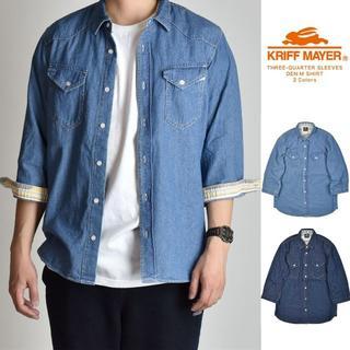 KRIFF MAYER - ライトブルー デニムシャツ メンズ カジュアルシャツ 7分袖 ダンガリー