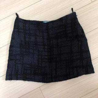 プラダ(PRADA)のPRADA♡プラダ ツイードミニスカート ネイビー38(ミニスカート)