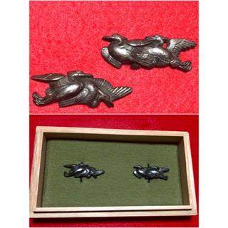 赤銅地◆二羽白鷺図◆美品◆箱付き◆江戸期◆刀装具(武具)