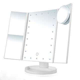 卓上スタンドミラー 三面鏡 化粧ミラー LED 化粧鏡 (スタンドミラー)