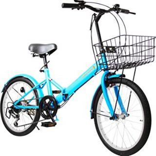 【折りたたみカゴ付】折りたたみ自転車 20インチ シマノ社製6段変速ギア