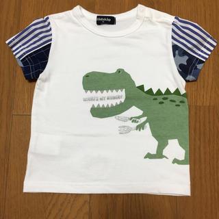 クレードスコープ(kladskap)の美品☆クレードスコープ☆はらぺこ恐竜半袖Tシャツ☆白☆90サイズ(Tシャツ/カットソー)