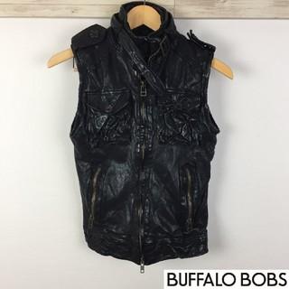 バッファローボブス(BUFFALO BOBS)の美品 バッファローボブズ レザーベスト ブラック サイズ1(レザージャケット)