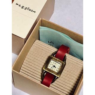 エージープラス(a.g.plus)のa.g.plus☆レザーバンドスクエアアナログウォッチ*新品箱付き ワインレッド(腕時計)