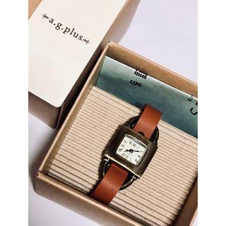 エージープラス(a.g.plus)のa.g.plus☆レザーバンドスクエアアナログウォッチ*新品箱付き キャメル(腕時計)