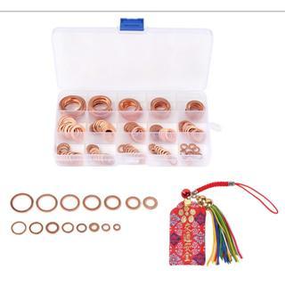 銅リング クラッシュワッシャー ガスケットセット 15サイズ150個s-b94 (洗車・リペア用品)
