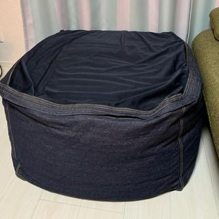 ムジルシリョウヒン(MUJI (無印良品))の《セット》体にフィットするソファ 綿デニムカバー 幅65×奥行き65×高さ43(ビーズソファ/クッションソファ)