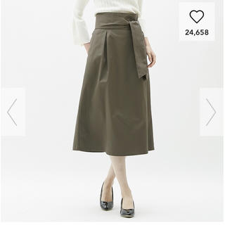 ジーユー(GU)のチノベルトつきハイウエストスカート GU 1回着用 Lサイズ(ロングスカート)
