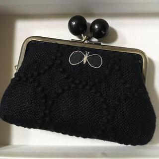 ミナペルホネン(mina perhonen)のミナペルホネンがま口財布 ブラック(財布)