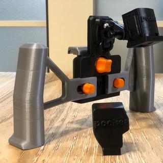 オリジナル(Original)のosmo pocket用ホルダー&スマホホルダー 3Dプリンター製 [黒&銀](ビデオカメラ)