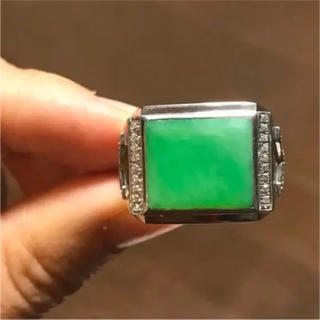 【高級】 天然 本翡翠  明るい緑色 リング s925 No.9(リング(指輪))
