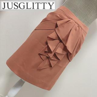 ジャスグリッティー(JUSGLITTY)のスカートジャスグリッティー  ラッフルスカート アプリコット(ひざ丈スカート)