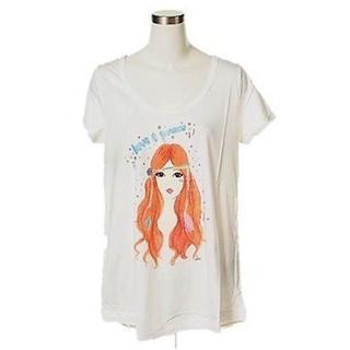 プーラフリーム(pour la frime)の未着用タグ付き★プーラフリームラウンドネックビッグTシャツM/白(Tシャツ(半袖/袖なし))