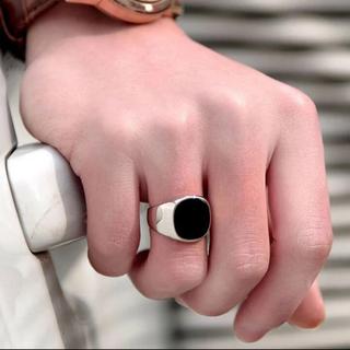 マルタンマルジェラ(Maison Martin Margiela)のブラックオニキスリング18号(リング(指輪))