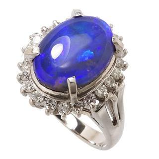 Pt900 ブラックオパール1.32ct/ダイヤモンド計0.22ct】指輪(リング(指輪))