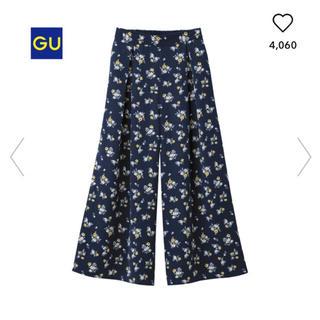 美品 GU ジーユー ワイドパンツ ガウチョ イージースカンツ 花柄 フラワー