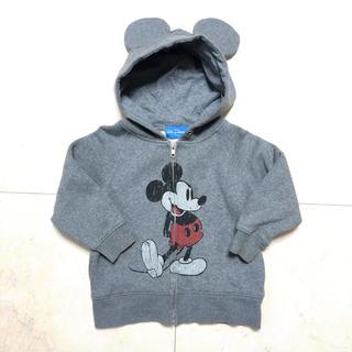 ディズニー(Disney)のディズニー ミッキー  耳つき パーカー グレー 100 オフィシャル 公式(ジャケット/上着)
