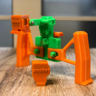 オリジナル(Original)のosmo pocket用ホルダー&スマホホルダー 3Dプリンター製 [緑&橙](ビデオカメラ)
