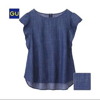ジーユー(GU)のGU テンセルデニムフリルブラウス (シャツ/ブラウス(半袖/袖なし))