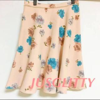 ジャスグリッティー(JUSGLITTY)の花柄 フラワー フレアスカート (ひざ丈スカート)