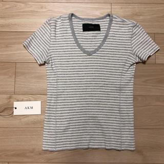 エイケイエム(AKM)のAKM ワッフル ボーダー VネックTシャツ 1 piu 1 uguale 3(Tシャツ/カットソー(半袖/袖なし))