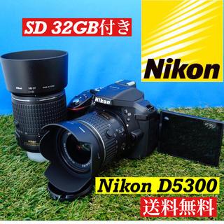 ニコン(Nikon)のWi-Fi機能付 上級者向け Nikon D5300 ダブルレンズ 美品(デジタル一眼)