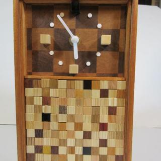 木工ブロックで作った置時計(置時計)