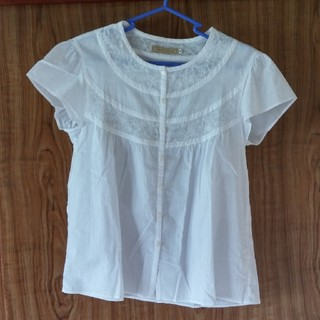 クロコダイル(Crocodile)の人気の白♪CROCODILE*フレンチ袖シャツ/綿シャツ(シャツ/ブラウス(半袖/袖なし))