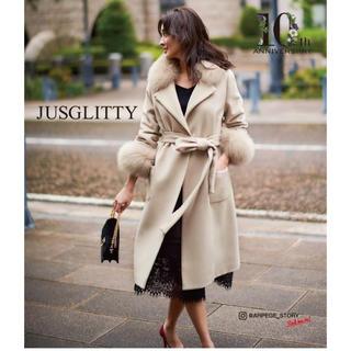 ジャスグリッティー(JUSGLITTY)の♡新品タグ付き♡衿ファー付きポケットファーコート♡(ロングコート)