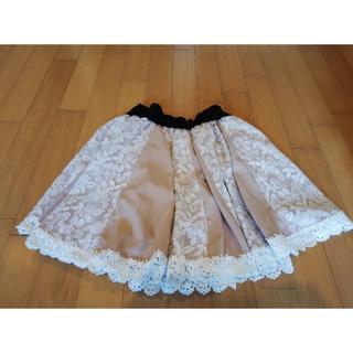 axes femme - axes femme(アクシーズファム)のベージュ×白バラレースふんわりスカート