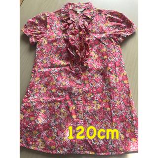ハッシュアッシュ(HusHush)のお花柄のトップス シャツ 女児120cm  HusHusH(Tシャツ/カットソー)